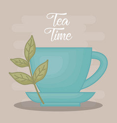 hot cup of tea with tea leaves design vector image