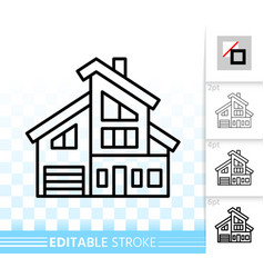 house simple black line home exterior icon vector image