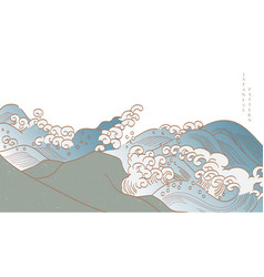 japanese hand drawn wave with cloud decoration vector image