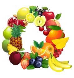 Letter Q composed of different fruits with leaves vector image