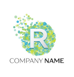 letter r logo blue green yellow particles vector image