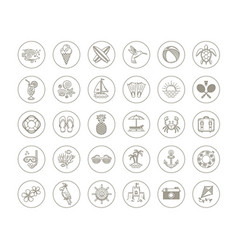 line drawing icons - summer vacation and holidays vector image