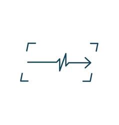linear cardiogram in frame logo cardiology heart vector image