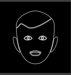 little boy face white color path icon vector image