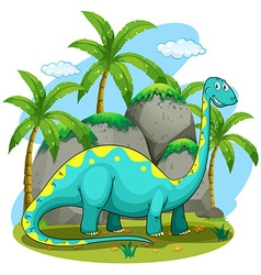 Long neck dinosaur standing in the field vector