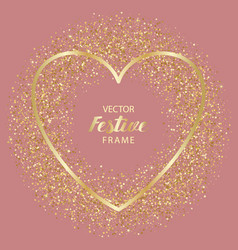 luxury and golden glitter heart festive frame vector image