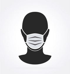 man with facemask dark gray vector image