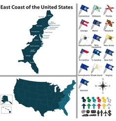 Map east coast united states vector
