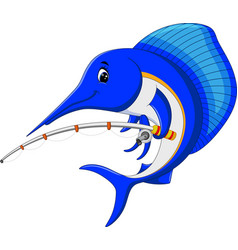 Marlin fish cartoon with fishing pole vector