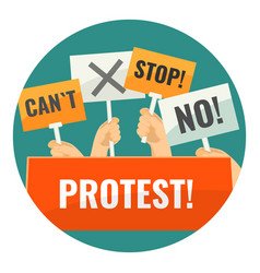 Mass protest with negative cardboard signs on vector