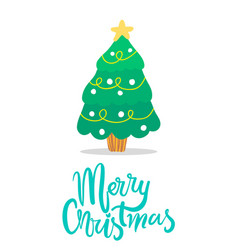 Merry christmas icon of tree vector