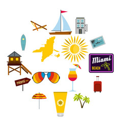 miami icons set flat style vector image