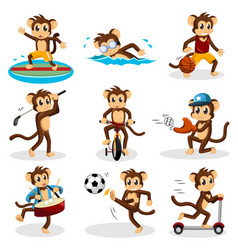 monkey doing activity vector image