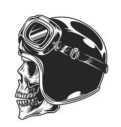 Motorcyclist skull in helmet and goggles vector