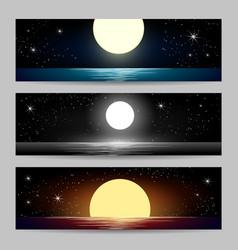 Night seascapes set vector