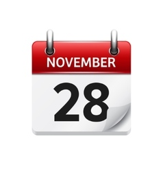November 28 flat daily calendar icon vector