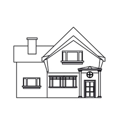 outline beautiful home chimney window vector image