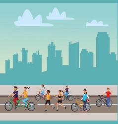 People in city vector