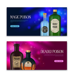 poison horizontal banners set vector image
