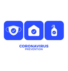 prevention covid-19 all in one icon poster vector image