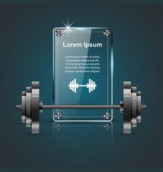 realistic barbell icon glass infographic vector image