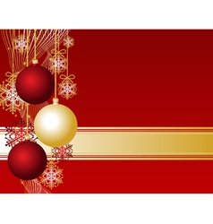 red christmas card with christmas balls and snowfl vector image