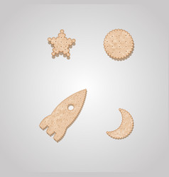 Rocket moon and star cracker-shaped cookies vector