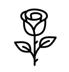 rose line icon flower symbol flower with leaf vector image