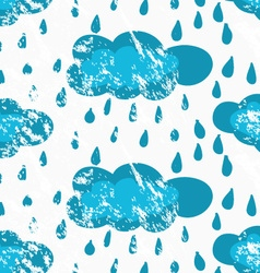 Rough brush blue rainy clouds vector