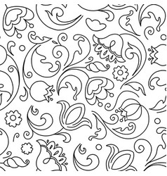 seamless pattern flowers black and white in doodle vector image