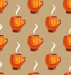 Seamless pattern with cartoon mugs-9 vector image