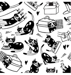 seamless pattern with cute cat washing itself vector image
