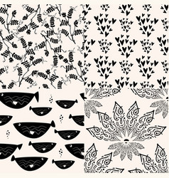 Set black abstract patterns graphic seamless vector