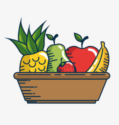 Set fresh fruits handmade drawn vector