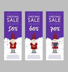 set of christmas sale banners cute santa claus vector image