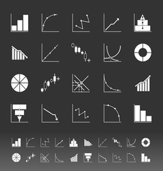 Set of diagram and graph icons on gray background vector