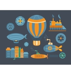 Set of objects steampunk vector