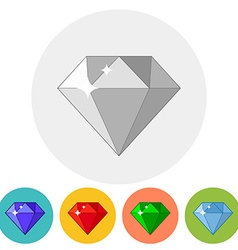 Shining gem icon in different color variations vector