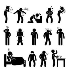 sickness illness disease symptom a set of vector image
