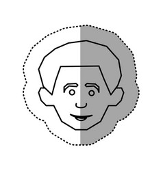 Silhouette face happy man icon vector