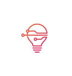 smart bulb tech logo icon vector image