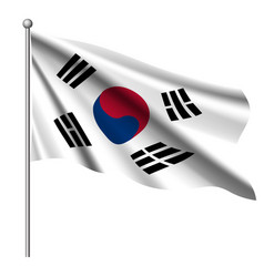 south korea flag background with cloth texture vector image