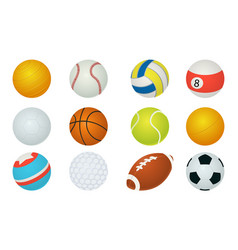 sport balls cartoon soccer and baseball rugby vector image