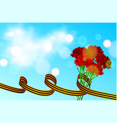 St george ribbon and red carnation on blue vector