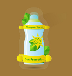 Sun protection waterproof spray can vector