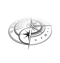 Sundial and windrose perspecttive symbol vector