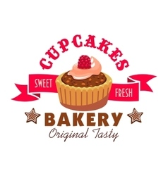 Sweet fresh cupcakes icon Bakery emblem vector