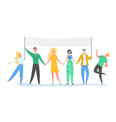 Teamwork characters standing holding text board vector