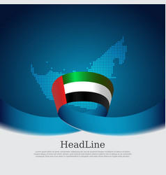 United arab emirates flag with wavy ribbon vector