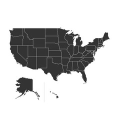 usa map with states isolated on a white vector image